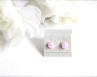 Little Lavender Round Post Earrings, 6mm Earrings Light Purple Stud, Light Amethyst Flat Back Faux Pearl Cabochons- FREE Gift Packaging