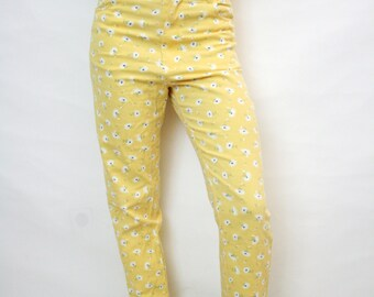 Vintage 90s Grunge Daisy Print Stretchy Yellow Denim High Waist Skinny Pants