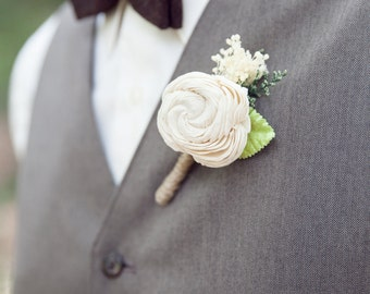Ivory Boutonniere Made to Order- Groom Wedding, Buttonhole, Groomsmen, Sola Flower, Wedding, Wedding Flowers