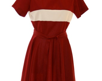 Brick Red Striped Dress - Vintage Size 4 6 Size Small Ladies