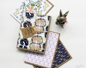 BUNNY lover card box // 8 blank bunny cards, bunny set of note cards, easter cards, gift