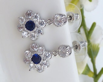 Kate Middleton Celebrity Inspired Earrings - High Quality Fancy Cubic Zirconia Flower Drop with Sapphire Blue CZ  Post Earrings