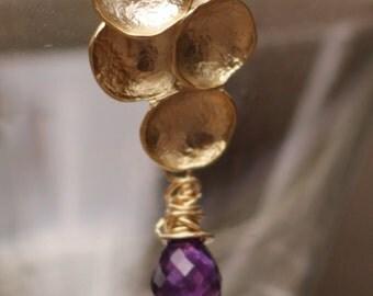 Amethyst Earrings - Amethyst Gold Earrings - Amethyst Wire Wrapped Earrings - Purple Amethyst Earrings - Purple Gemstone Earrings