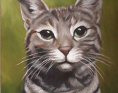 Reserved for Cathy - CAT PORTRAIT - Oil Painting - Pet Portrait - Cat Painting - Tabby Cat Art - 11x14