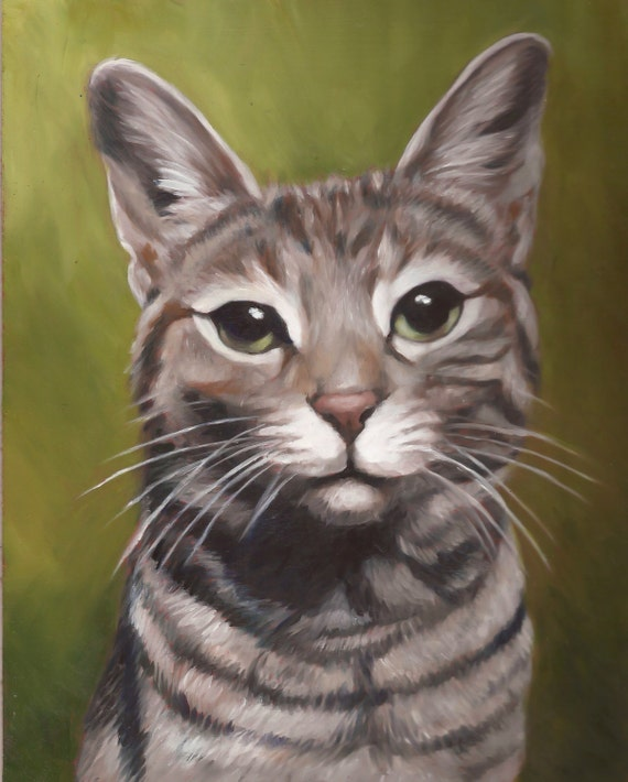 CAT PORTRAIT - Oil Painting - Pet Portrait - Cat Painting - Tabby Cat Art