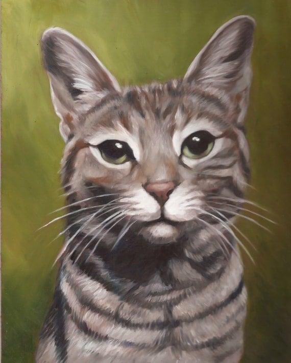 CAT PORTRAIT - Oil Painting - Pet Portrait - Cat Painting - Tabby Cat Art - 11x14