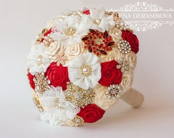 SALE!!! Brooch bouquet, ivory red gold  Fabric Wedding Bouquet, Unique Fabric Flower Bridal Bouquet