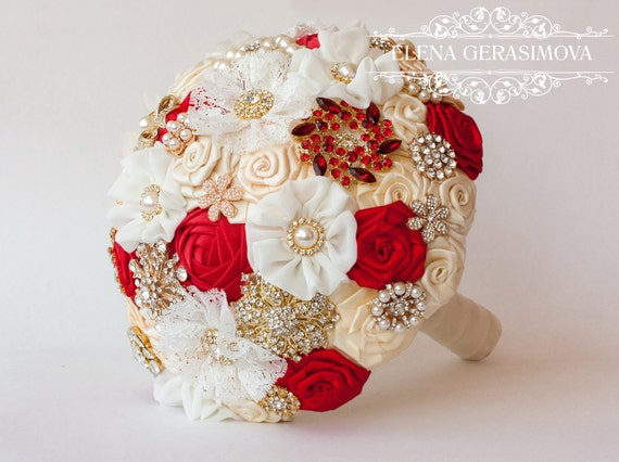 Brooch bouquet ivory red gold fabric wedding bouquet unique like this item junglespirit Image collections