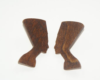 Nefertiti Stud Wood Earrings Brown Stain