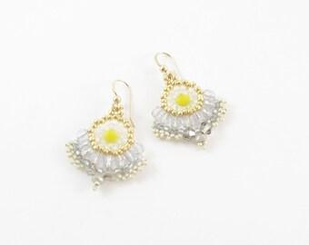 Ice gray yellow neon earrings, bead work, hand made fan earrings, with gold