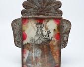 Antique Ex Voto, La Virgen de San Juan de los Lagos in Tin Nicho Frame, Mexican Retablo Shrine