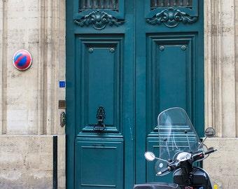 Paris Door Photography - Blue Door with Scooter, Fine Art Paris Print, French Home Decor, Large Wall Art