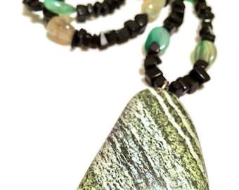 Green & Black Stone Pendant