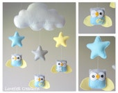 Baby mobile - Owl mobile - Baby crib mobile - Baby mobile owl - Cloud stars mobile