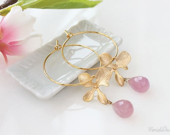 Orchids & Lavender Chalcedony Hoop Earrings