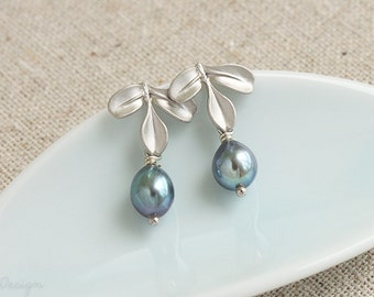 Dainty Leaf & Pearl Earrings, Peacock Pearl Jewelry, Wedding Jewelry, Bridesmaids Gifts