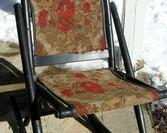 VICTORIAN Folding CARPET ROCKING Chair -  Unique Blend of Ideas - Carved Wood - Carpet Seat and Back Late 1800s early 1900s