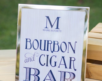 Bourbon and Cigar Bar Sign- Bluegrass and Bourbon Party by Bloom