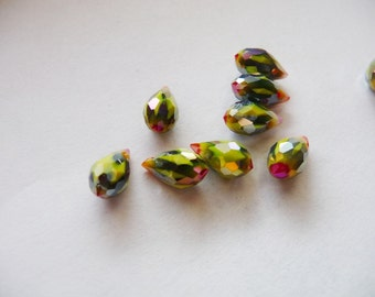 """Briolette, multicolor, green, red, olive, yellow, swarovski, crystal, Pendant, Beads,12x6 mm / 0.47 x 0.236 """", quartz, top drilled,"""