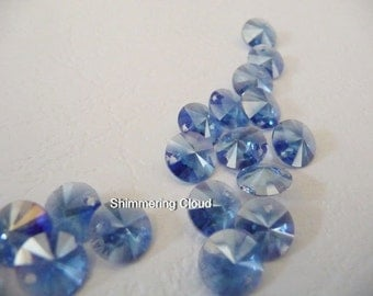 Crystal beads, cobalt blue beads, sapphire beads, deep blue beads, blue beads, clear beads, bicolor beads, disc beads, 8 mm, Swarovski, 6200