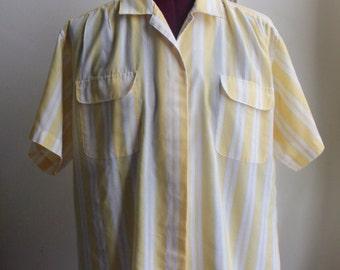 1980s/90s Petite Yellow & White Striped Blouse