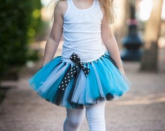 Turquoise, Black, & White 'Paige' Tutu girls tutu children's tutu photo prop birthday tutu skirt size 5,6,7,8,10,12 dress up skirt teal tutu
