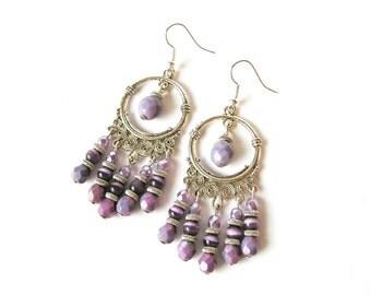 Purple Chandelier Earrings Purple beaded Earrings Purple Silver Earrings Boho style Oriental Earrings Purple Jewelry