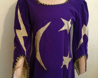 Deluxe purple and gold grand wizard female velvet costume