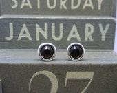 Silver Birthstone Ear Studs - January Solid Sterling Silver 925 Garnet Deep Red Swarovski Crystal Earrings