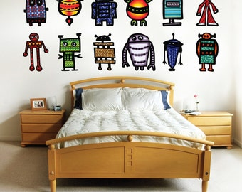 Large size Robot decals- kids room decor- fabric removable decals