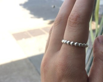 Extra Large Bubble Sterling Silver Stacking Ring - custom made to order