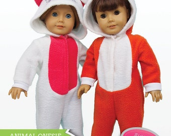 Animal Onesie Bundle Doll Clothes PDF Sewing Pattern for 18 inch American Girl Dolls - INSTANT DOWNLOAD