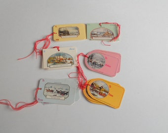 Vintage Holiday Gift Tags with String Currier and Ives Lithographs Christmas Holiday Paper Hang  Tags