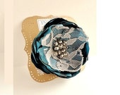 Dark Teal Blue Flower Brooch with Grey Lace, Beaded Flower Pin, Broach, Women's Fashion Accessory, Shabby Chic Accessories for Her - InspiredGreetingsAD