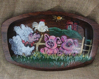 Playing in the Summer Day down on the Farm, 12 inch wooden tray painted with Acrylic paints