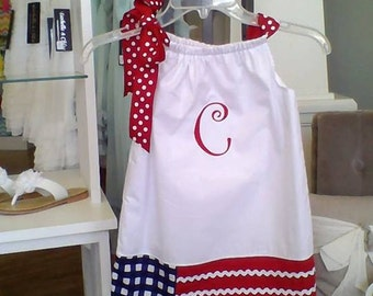 4th of July dress, Patriotic flag dress, Military army, pillowcase dress, baby dress, toddler, girl, Mudan 12m-6 matching brother sister