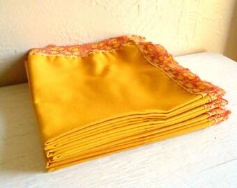 Bright Gold Amber Napkins with Orange Lace Edge Decorative or Everyday Use - Set of 8