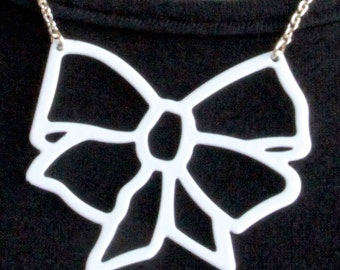 Vintage White Cutout Bow Necklace