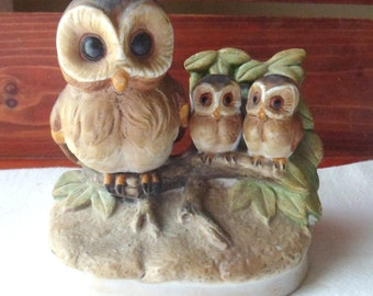 Mother Owl and Two Babies Figurine, HOMCO Owl Family, Owl Figurine