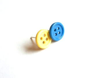Recycled button jewelry minimalist stud earrings yellow & blue repurposed jewelry buttons earrings upcycled jewelry button stud earrings
