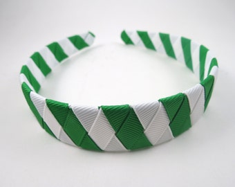 Emerald Green and White Striped Headband - Green Headband - White Headband - Headband - Ribbon Woven Headband - Braided Headband