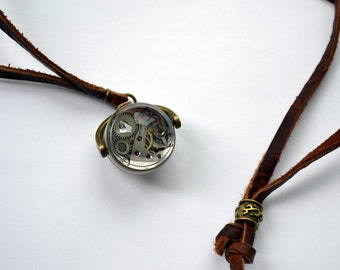 Vintage watch movement in glass ball Necklace - on leather cord