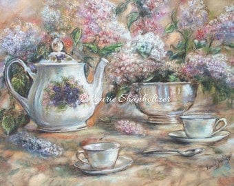 Teacup, teapot, still life - ORIGINAL pastel painting - lilacs, floral, flowers, teatime, wall art, home decor,  20x24,