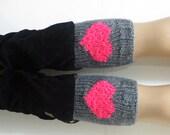 Grey Pink Short Heart Knit Boot Cuffs. Love Heart Short Leg Warmers. Crochet heart Boot Cuffs. Legwear pink Grey