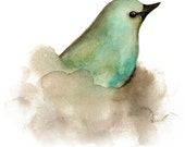 Mint Green, Turquoise and Brown Bird Print from Watercolor Painting, Nature Art