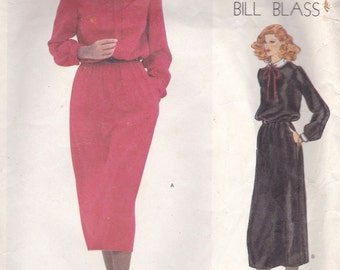Bill Blass Blouson Dress Pattern Vogue American Designer 2054 Size 10