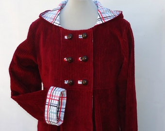Red Winter Coat with Hood, Swing Coat, Women's Outerwear in Wool or Corduroy, Custom Designed Jacket