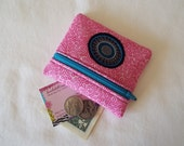 Coin Purse, Zipper Pouch, Change Purse, Wallet, mod, pink, hot pink, teal, black, embroidered