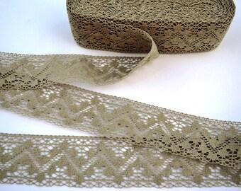 Linen Lace Trim--French Style Ecru Pure Linen Lace--Ecru Wide Chevron Zig-zag--Luxury Trim Vintage High Fashion--for DIY Projects