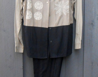 Vintage 80s Black & Beige Raw Silk Pant Suit with Embroidered Design